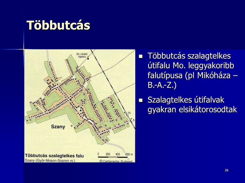 26Többutcás Többutcás szalagtelkes útifalu Mo. leggyakoribb falutípusa (pl Mikóháza – B.-A.-Z.) Többutcás szalagtelkes útifalu Mo. leggyakoribb falutí