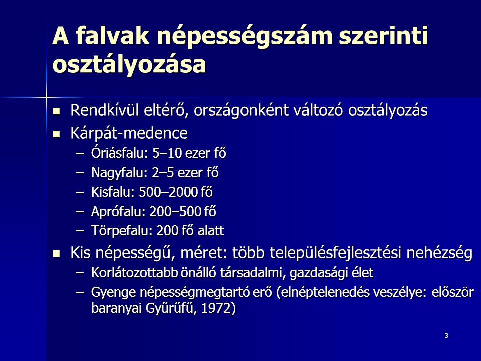 3 A falvak népességszám szerinti osztályozása Rendkívül eltérő, országonként változó osztályozás Rendkívül eltérő, országonként változó osztályozás Kárpát-medence Kárpát-medence –Óriásfalu: 5–10 ezer fő –Nagyfalu: 2–5 ezer fő –Kisfalu: 500–2000 fő –Aprófalu: 200–500 fő –Törpefalu: 200 fő alatt Kis népességű, méret: több településfejlesztési nehézség Kis népességű, méret: több településfejlesztési nehézség –Korlátozottabb önálló társadalmi, gazdasági élet –Gyenge népességmegtartó erő (elnéptelenedés veszélye: először baranyai Gyűrűfű, 1972)