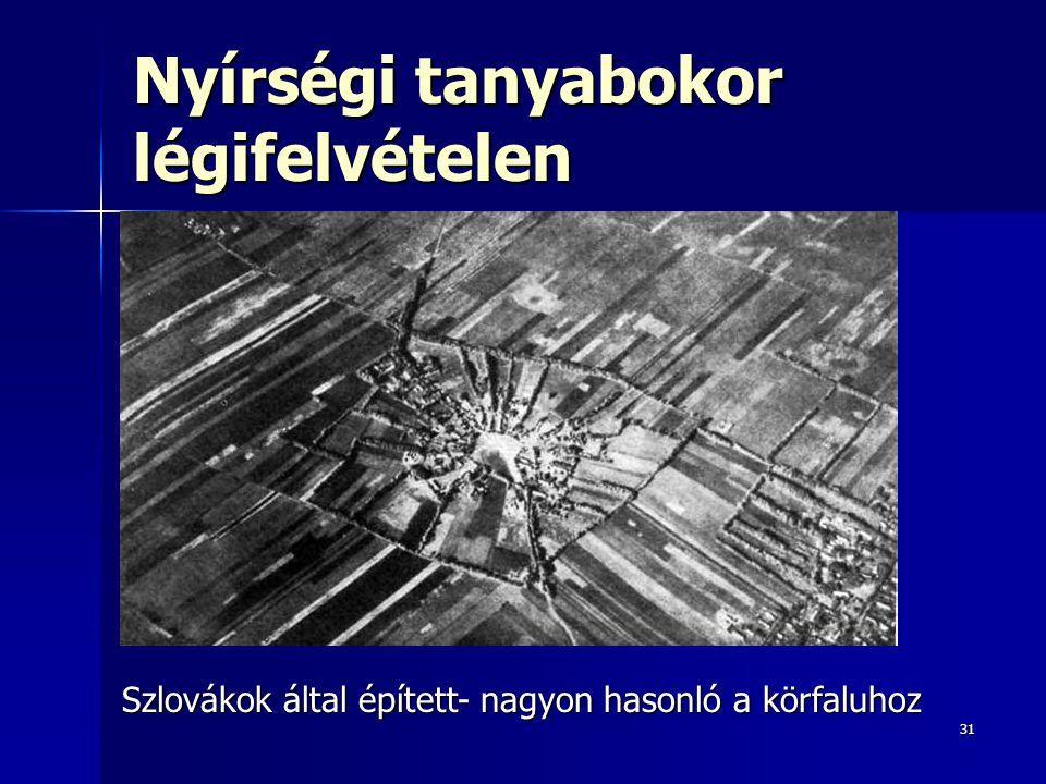 31 Nyírségi tanyabokor légifelvételen Szlovákok által épített- nagyon hasonló a körfaluhoz