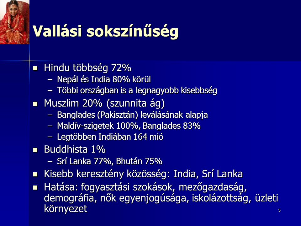 5 Vallási sokszínűség Hindu többség 72% Hindu többség 72% –Nepál és India 80% körül –Többi országban is a legnagyobb kisebbség Muszlim 20% (szunnita á