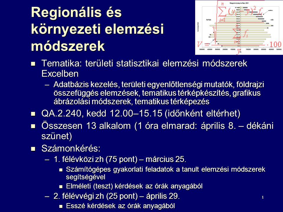 1 Regionális és környezeti elemzési módszerek Tematika: területi statisztikai elemzési módszerek Excelben Tematika: területi statisztikai elemzési módszerek Excelben –Adatbázis kezelés, területi egyenlőtlenségi mutatók, földrajzi összefüggés elemzések, tematikus térképkészítés, grafikus ábrázolási módszerek, tematikus térképezés QA.2.240, kedd 12.00–15.15 (időnként eltérhet) QA.2.240, kedd 12.00–15.15 (időnként eltérhet) Összesen 13 alkalom (1 óra elmarad: április 8.