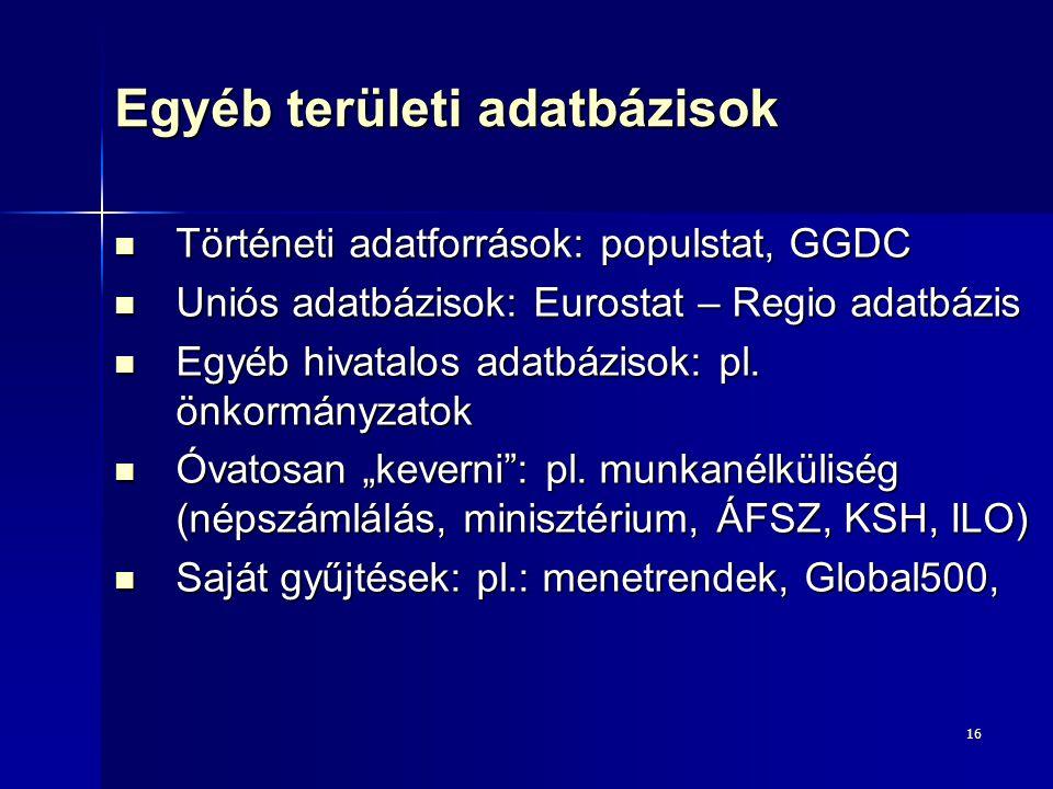 16 Egyéb területi adatbázisok Történeti adatforrások: populstat, GGDC Történeti adatforrások: populstat, GGDC Uniós adatbázisok: Eurostat – Regio adatbázis Uniós adatbázisok: Eurostat – Regio adatbázis Egyéb hivatalos adatbázisok: pl.