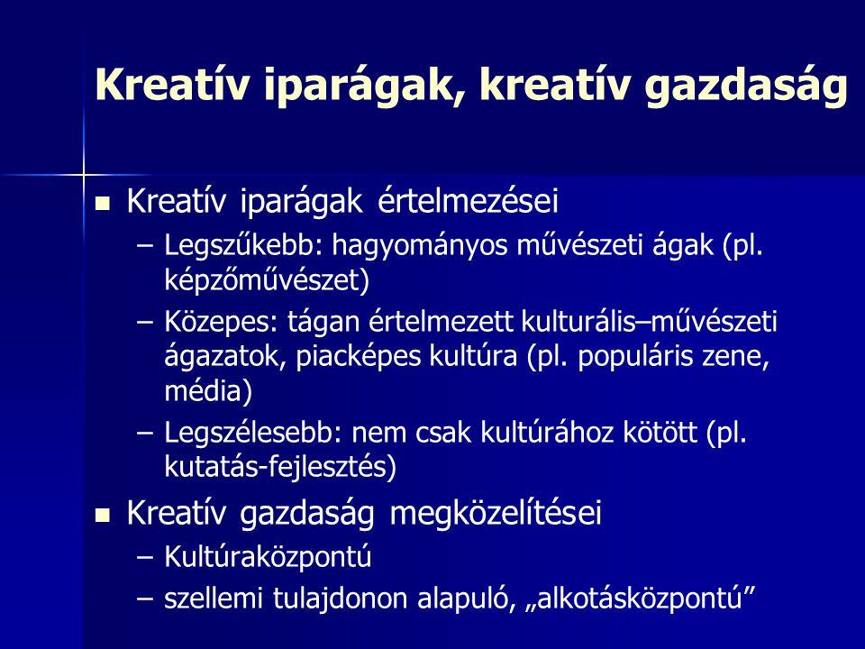 Kreatív iparágak, kreatív gazdaság Kreatív iparágak értelmezései – –Legszűkebb: hagyományos művészeti ágak (pl. képzőművészet) – –Közepes: tágan értel