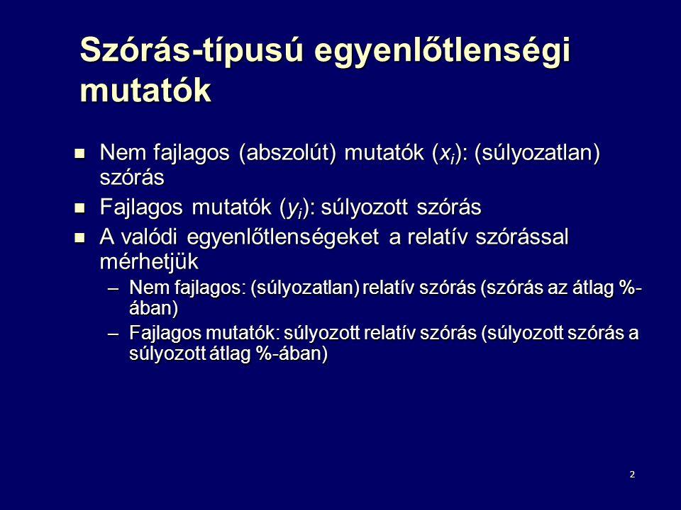 2 Szórás-típusú egyenlőtlenségi mutatók Nem fajlagos (abszolút) mutatók (x i ): (súlyozatlan) szórás Nem fajlagos (abszolút) mutatók (x i ): (súlyozat