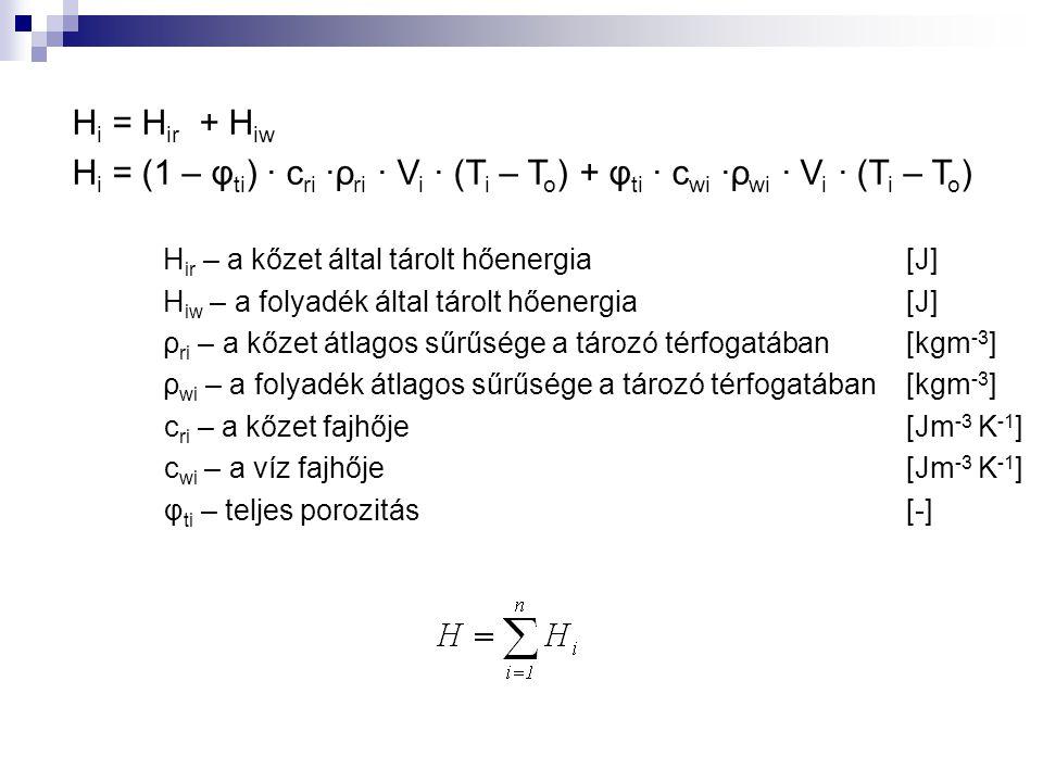 H i = H ir + H iw H i = (1 – φ ti ) ∙ c ri ∙ρ ri ∙ V i ∙ (T i – T o ) + φ ti ∙ c wi ∙ρ wi ∙ V i ∙ (T i – T o ) H ir – a kőzet által tárolt hőenergia [