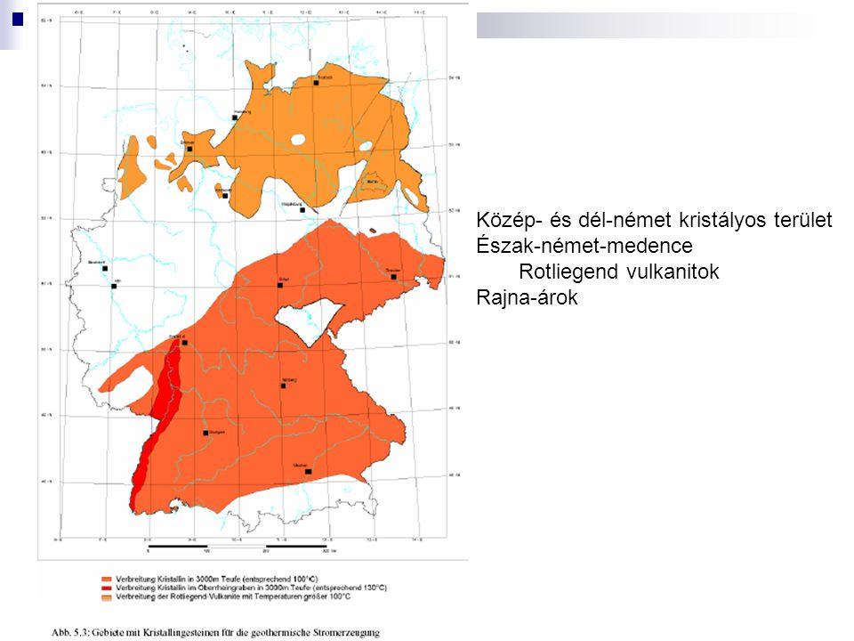 Közép- és dél-német kristályos terület Észak-német-medence Rotliegend vulkanitok Rajna-árok