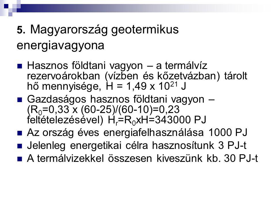 5. Magyarország geotermikus energiavagyona Hasznos földtani vagyon – a termálvíz rezervoárokban (vízben és kőzetvázban) tárolt hő mennyisége, H = 1,49