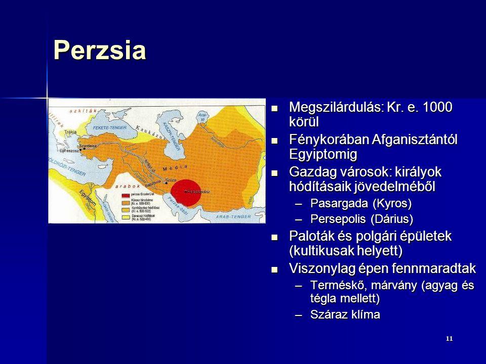 1111Perzsia Megszilárdulás: Kr. e. 1000 körül Megszilárdulás: Kr. e. 1000 körül Fénykorában Afganisztántól Egyiptomig Fénykorában Afganisztántól Egyip