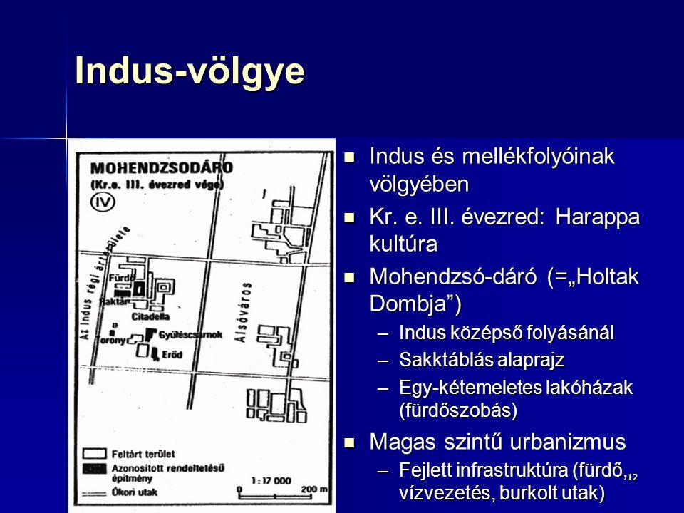 1212Indus-völgye Indus és mellékfolyóinak völgyében Indus és mellékfolyóinak völgyében Kr. e. III. évezred: Harappa kultúra Kr. e. III. évezred: Harap