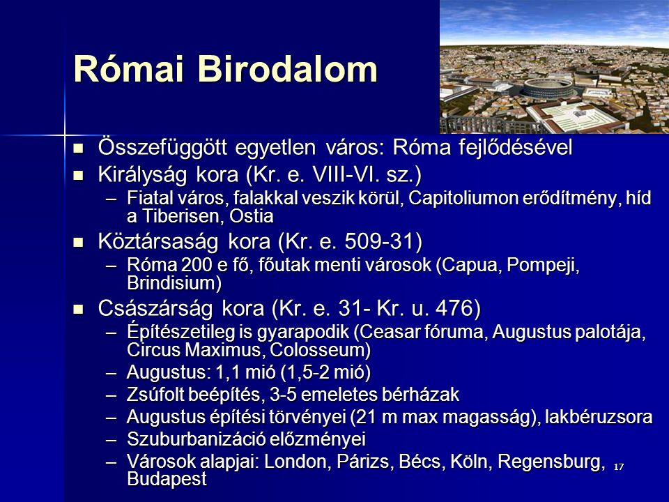1717 Római Birodalom Összefüggött egyetlen város: Róma fejlődésével Összefüggött egyetlen város: Róma fejlődésével Királyság kora (Kr. e. VIII-VI. sz.