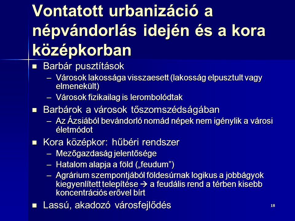 1818 Vontatott urbanizáció a népvándorlás idején és a kora középkorban Barbár pusztítások Barbár pusztítások –Városok lakossága visszaesett (lakosság