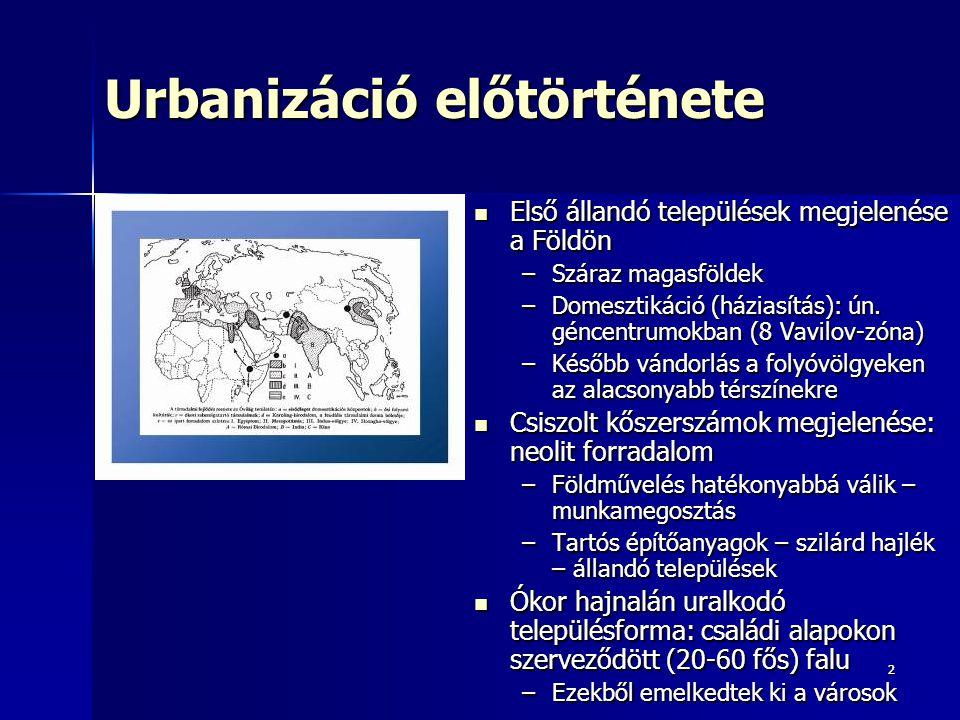 22 Urbanizáció előtörténete Első állandó települések megjelenése a Földön Első állandó települések megjelenése a Földön –Száraz magasföldek –Domesztik