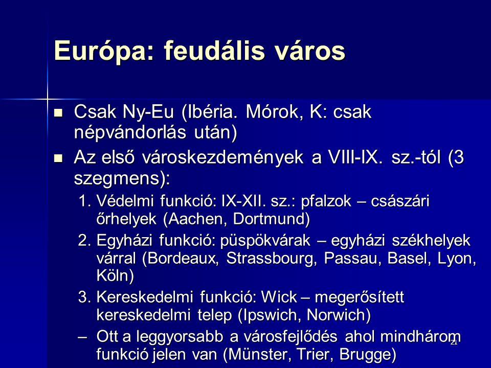 2121 Európa: feudális város Csak Ny-Eu (Ibéria. Mórok, K: csak népvándorlás után) Csak Ny-Eu (Ibéria. Mórok, K: csak népvándorlás után) Az első városk