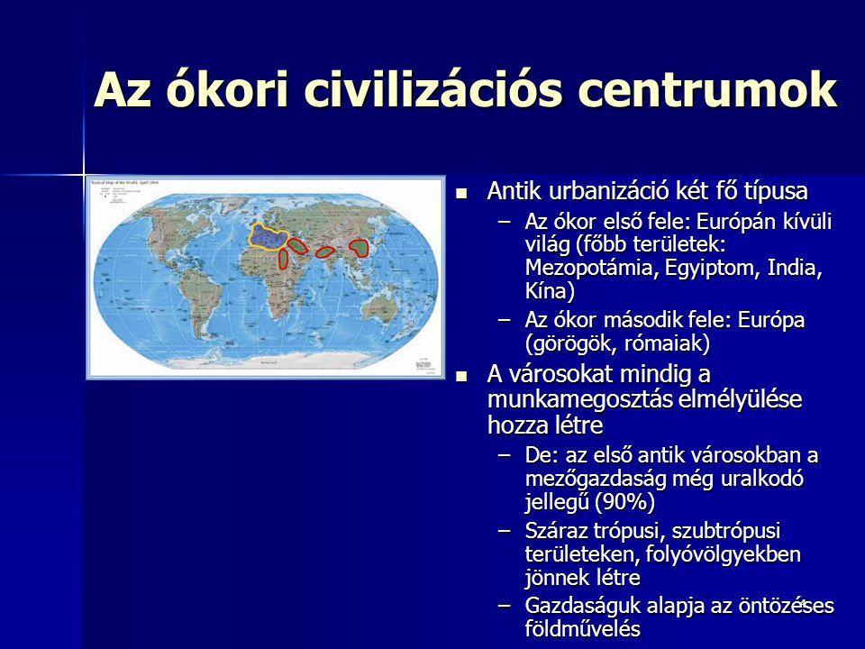 44 Az ókori civilizációs centrumok Antik urbanizáció két fő típusa Antik urbanizáció két fő típusa –Az ókor első fele: Európán kívüli világ (főbb terü