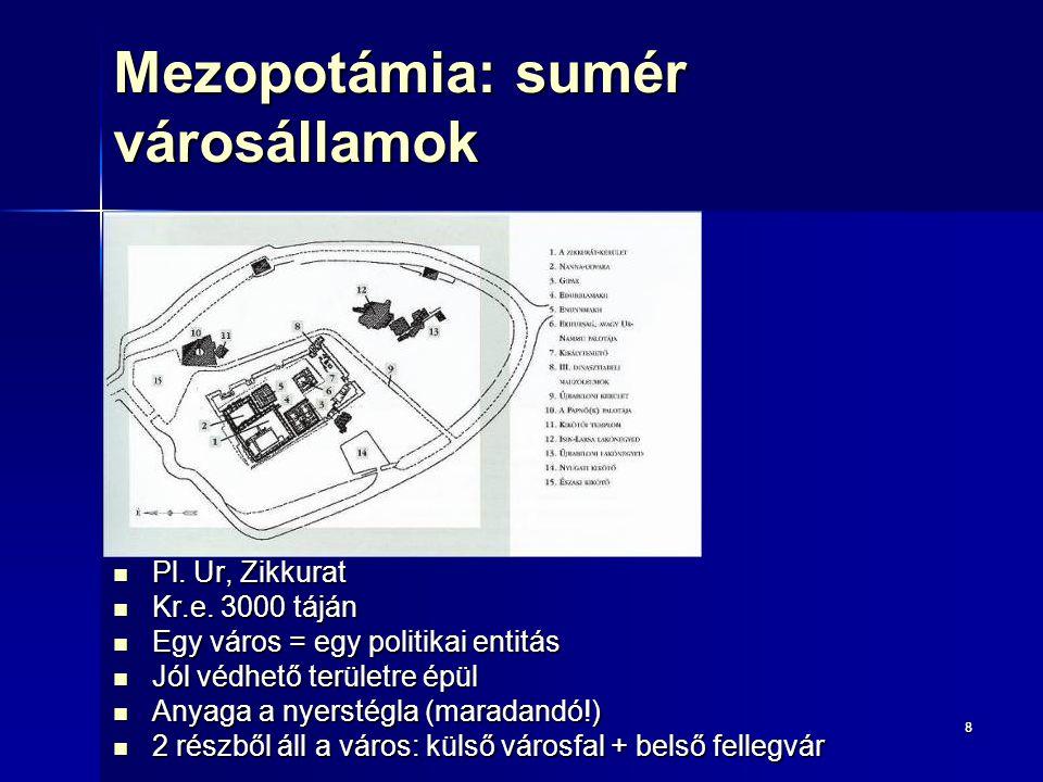 88 Mezopotámia: sumér városállamok Pl. Ur, Zikkurat Pl. Ur, Zikkurat Kr.e. 3000 táján Kr.e. 3000 táján Egy város = egy politikai entitás Egy város = e