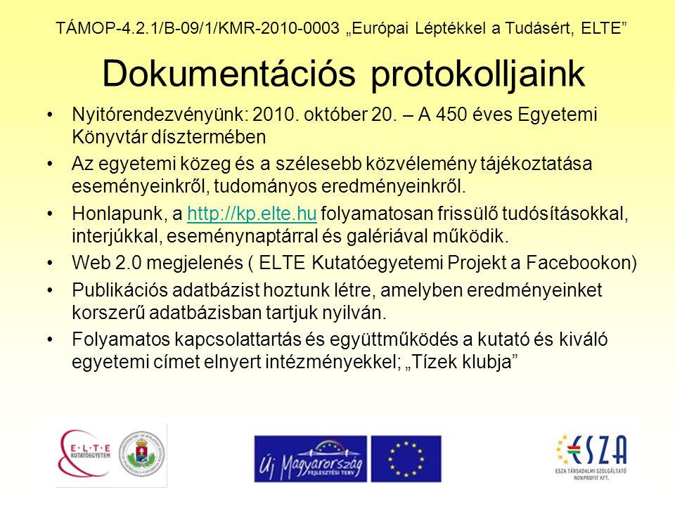 """TÁMOP-4.2.1/B-09/1/KMR-2010-0003 """"Európai Léptékkel a Tudásért, ELTE"""" Dokumentációs protokolljaink Nyitórendezvényünk: 2010. október 20. – A 450 éves"""