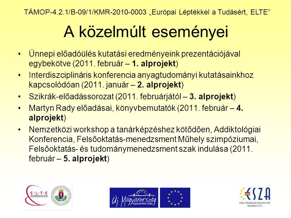 """TÁMOP-4.2.1/B-09/1/KMR-2010-0003 """"Európai Léptékkel a Tudásért, ELTE"""" A közelmúlt eseményei Ünnepi előadóülés kutatási eredményeink prezentációjával e"""
