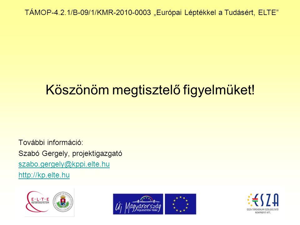 """TÁMOP-4.2.1/B-09/1/KMR-2010-0003 """"Európai Léptékkel a Tudásért, ELTE"""" Köszönöm megtisztelő figyelmüket! További információ: Szabó Gergely, projektigaz"""