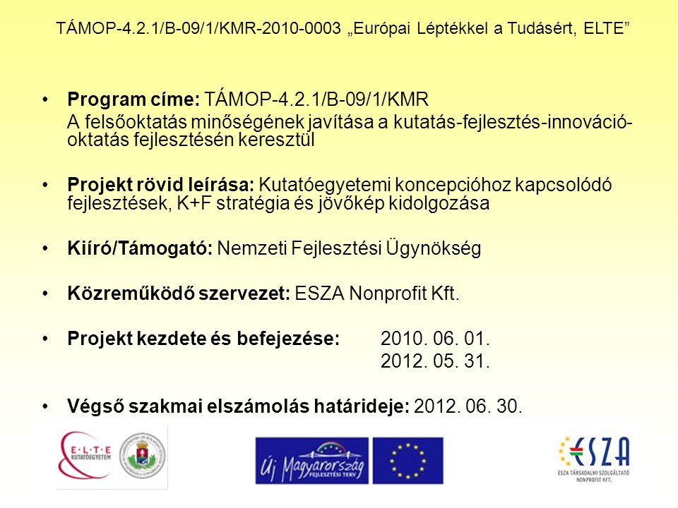 """TÁMOP-4.2.1/B-09/1/KMR-2010-0003 """"Európai Léptékkel a Tudásért, ELTE Program címe: TÁMOP-4.2.1/B-09/1/KMR A felsőoktatás minőségének javítása a kutatás-fejlesztés-innováció- oktatás fejlesztésén keresztül Projekt rövid leírása: Kutatóegyetemi koncepcióhoz kapcsolódó fejlesztések, K+F stratégia és jövőkép kidolgozása Kiíró/Támogató: Nemzeti Fejlesztési Ügynökség Közreműködő szervezet: ESZA Nonprofit Kft."""