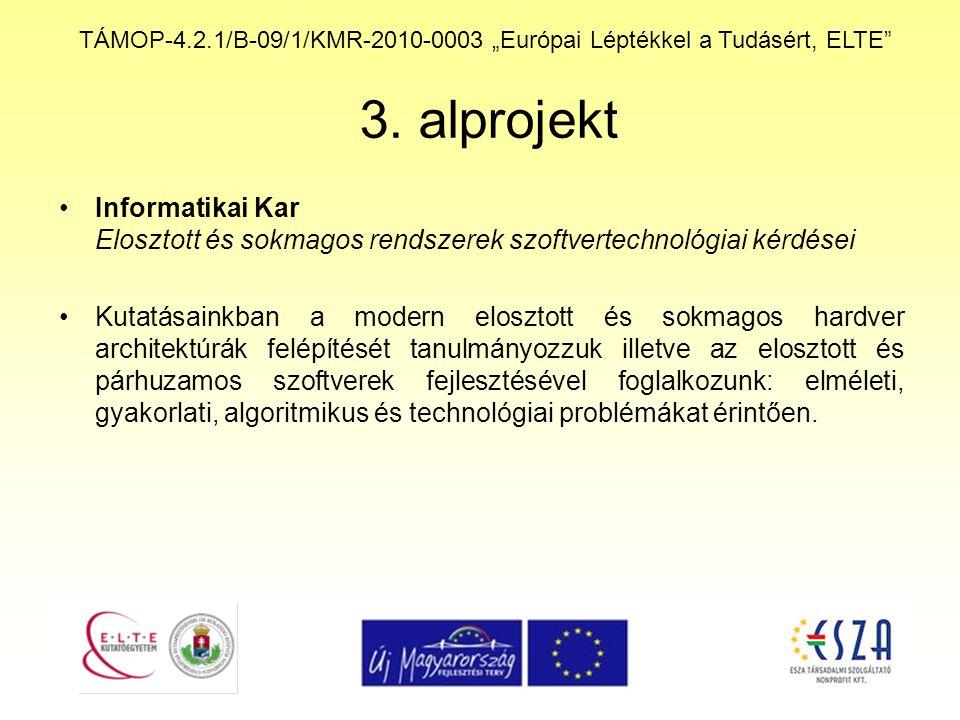"""TÁMOP-4.2.1/B-09/1/KMR-2010-0003 """"Európai Léptékkel a Tudásért, ELTE"""" 3. alprojekt Informatikai Kar Elosztott és sokmagos rendszerek szoftvertechnológ"""