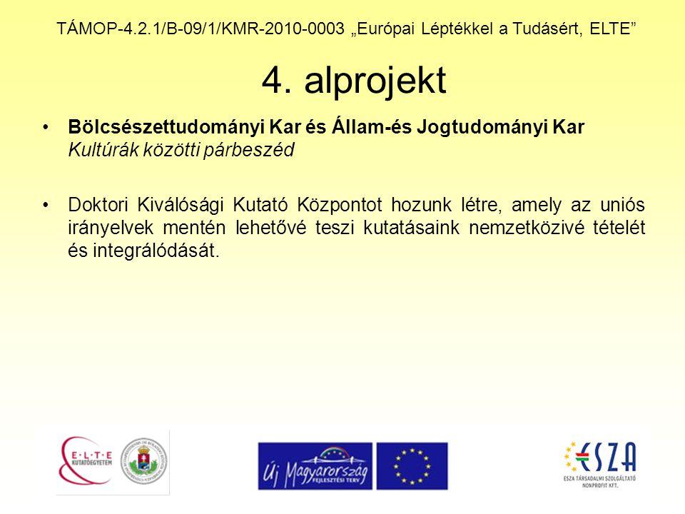 """TÁMOP-4.2.1/B-09/1/KMR-2010-0003 """"Európai Léptékkel a Tudásért, ELTE"""" 4. alprojekt Bölcsészettudományi Kar és Állam-és Jogtudományi Kar Kultúrák közöt"""