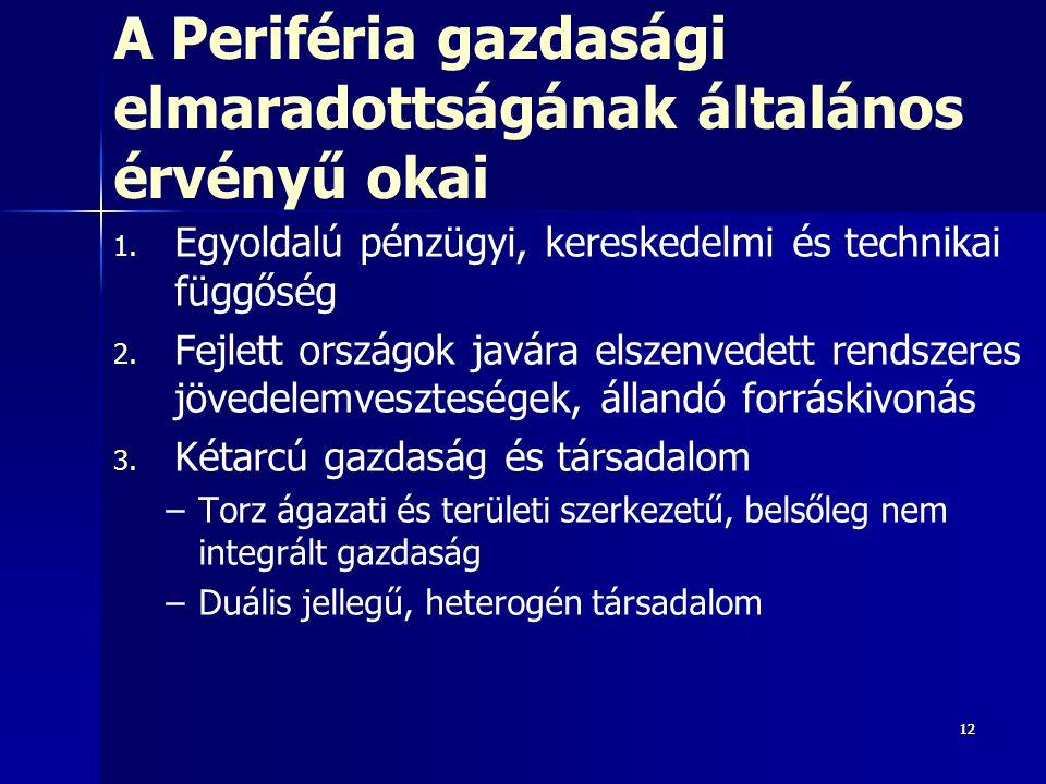 121212 A Periféria gazdasági elmaradottságának általános érvényű okai 1. 1. Egyoldalú pénzügyi, kereskedelmi és technikai függőség 2. 2. Fejlett orszá