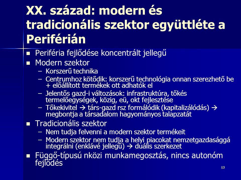 1313 XX. század: modern és tradicionális szektor együttléte a Periférián Periféria fejlődése koncentrált jellegű Modern szektor – –Korszerű technika –