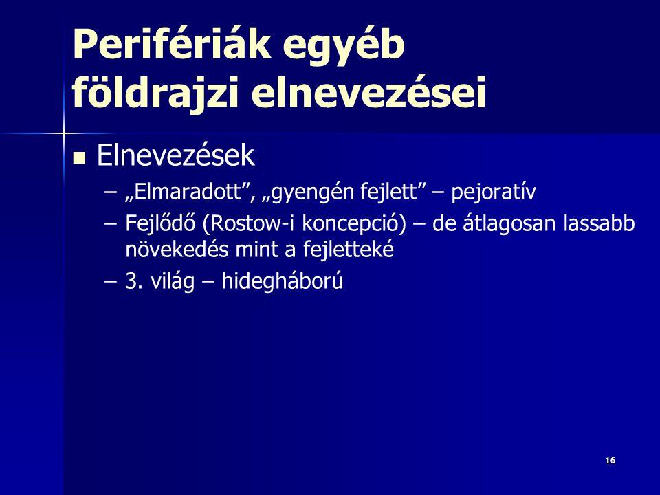 """161616 Perifériák egyéb földrajzi elnevezései Elnevezések – –""""Elmaradott"""", """"gyengén fejlett"""" – pejoratív – –Fejlődő (Rostow-i koncepció) – de átlagosa"""