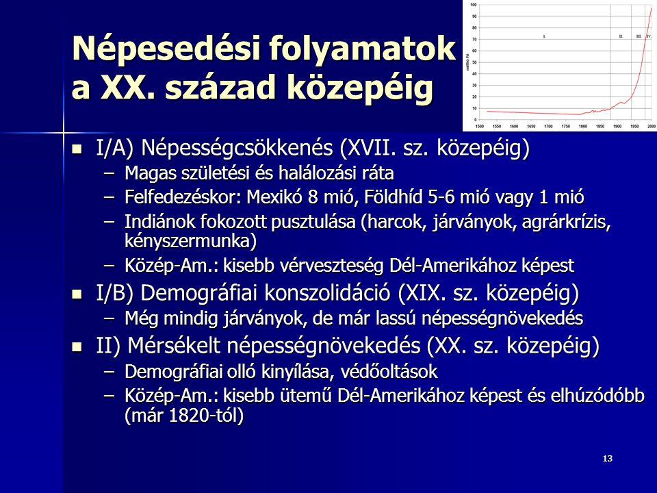 1313 Népesedési folyamatok a XX. század közepéig I/A) Népességcsökkenés (XVII. sz. közepéig) I/A) Népességcsökkenés (XVII. sz. közepéig) –Magas szület
