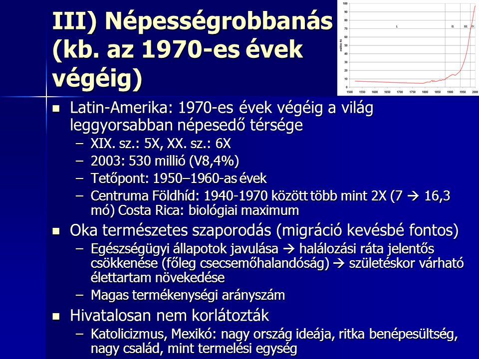 1414 III) Népességrobbanás (kb. az 1970-es évek végéig) Latin-Amerika: 1970-es évek végéig a világ leggyorsabban népesedő térsége Latin-Amerika: 1970-