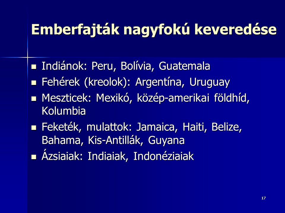 1717 Emberfajták nagyfokú keveredése Indiánok: Peru, Bolívia, Guatemala Indiánok: Peru, Bolívia, Guatemala Fehérek (kreolok): Argentína, Uruguay Fehér