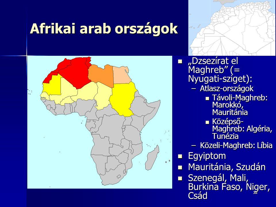 """3838 Afrikai arab országok """"Dzsezírat el Maghreb (= Nyugati-sziget): """"Dzsezírat el Maghreb (= Nyugati-sziget): –Atlasz-országok Távoli-Maghreb: Marokkó, Mauritánia Távoli-Maghreb: Marokkó, Mauritánia Középső- Maghreb: Algéria, Tunézia Középső- Maghreb: Algéria, Tunézia –Közeli-Maghreb: Líbia Egyiptom Egyiptom Mauritánia, Szudán Mauritánia, Szudán Szenegál, Mali, Burkina Faso, Niger, Csád Szenegál, Mali, Burkina Faso, Niger, Csád"""