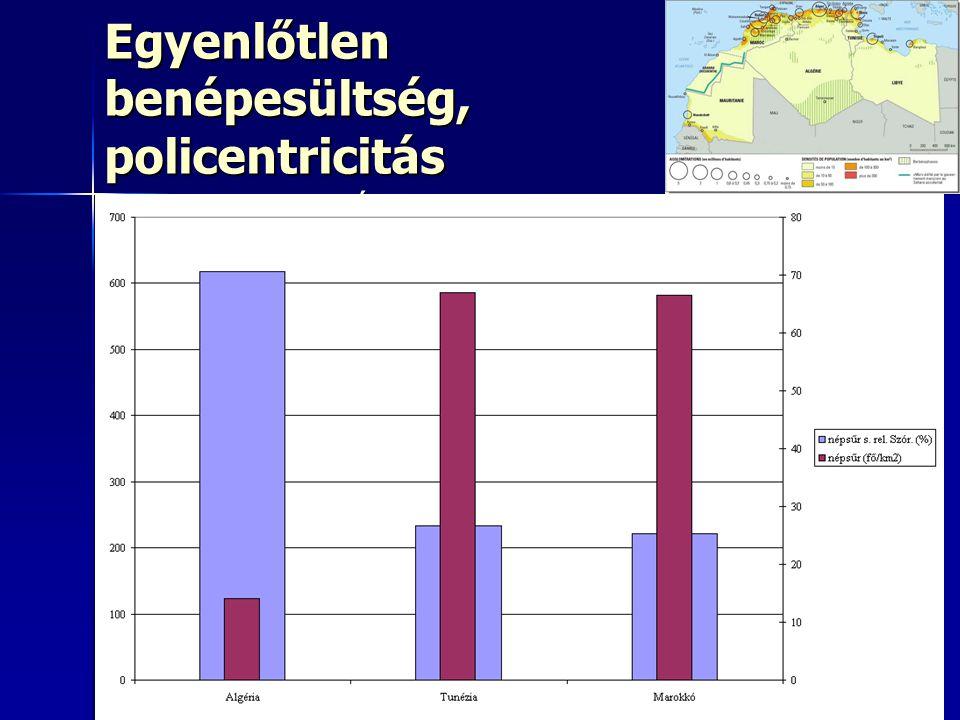 4949 Egyenlőtlen benépesültség, policentricitás USA befolyása É-ról D-re csökken USA befolyása É-ról D-re csökken Alacsony az egymás közötti kereskede