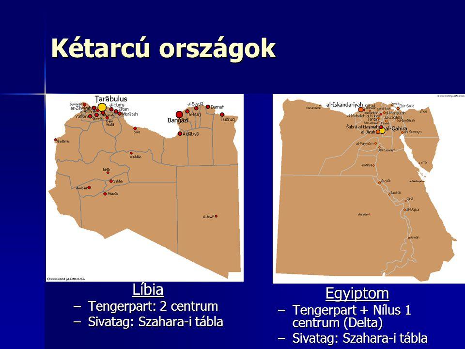 Kétarcú országok Líbia –Tengerpart: 2 centrum –Sivatag: Szahara-i tábla Egyiptom –Tengerpart + Nílus 1 centrum (Delta) –Sivatag: Szahara-i tábla