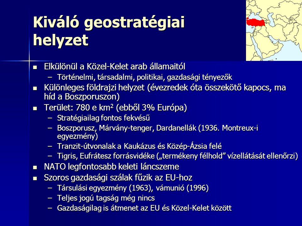 Kiváló geostratégiai helyzet Elkülönül a Közel-Kelet arab államaitól Elkülönül a Közel-Kelet arab államaitól –Történelmi, társadalmi, politikai, gazdasági tényezők Különleges földrajzi helyzet (évezredek óta összekötő kapocs, ma híd a Boszporuszon) Különleges földrajzi helyzet (évezredek óta összekötő kapocs, ma híd a Boszporuszon) Terület: 780 e km 2 (ebből 3% Európa) Terület: 780 e km 2 (ebből 3% Európa) –Stratégiailag fontos fekvésű –Boszporusz, Márvány-tenger, Dardanellák (1936.
