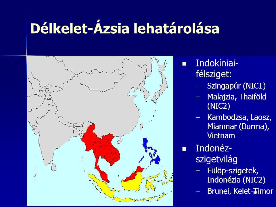 8282 Délkelet-Ázsia lehatárolása Indokíniai- félsziget: – –Szingapúr (NIC1) – –Malajzia, Thaiföld (NIC2) – –Kambodzsa, Laosz, Mianmar (Burma), Vietnam Indonéz- szigetvilág – –Fülöp-szigetek, Indonézia (NIC2) – –Brunei, Kelet-Timor