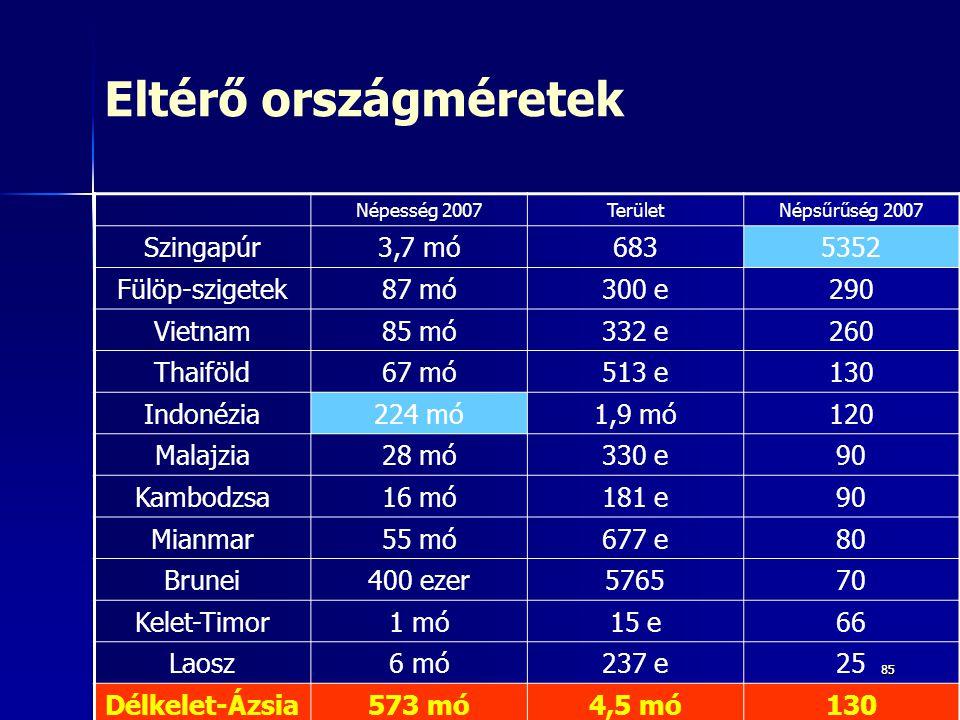 8585 Eltérő országméretek Népesség 2007TerületNépsűrűség 2007 Szingapúr3,7 mó6835352 Fülöp-szigetek87 mó300 e290 Vietnam85 mó332 e260 Thaiföld67 mó513