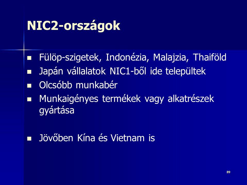 8989 NIC2-országok Fülöp-szigetek, Indonézia, Malajzia, Thaiföld Japán vállalatok NIC1-ből ide települtek Olcsóbb munkabér Munkaigényes termékek vagy alkatrészek gyártása Jövőben Kína és Vietnam is