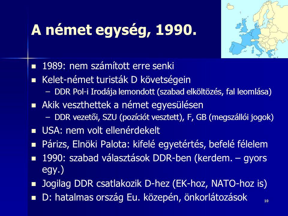 10 A német egység, 1990. 1989: nem számított erre senki Kelet-német turisták D követségein – –DDR Pol-i Irodája lemondott (szabad elköltözés, fal leom