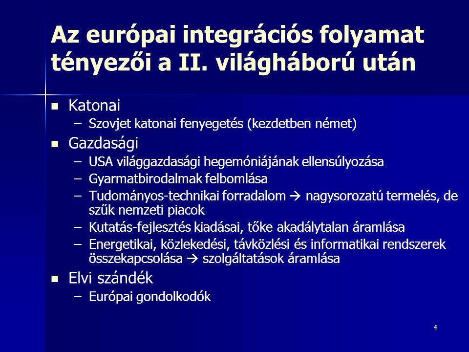 4 Az európai integrációs folyamat tényezői a II. világháború után Katonai – –Szovjet katonai fenyegetés (kezdetben német) Gazdasági – –USA világgazdas