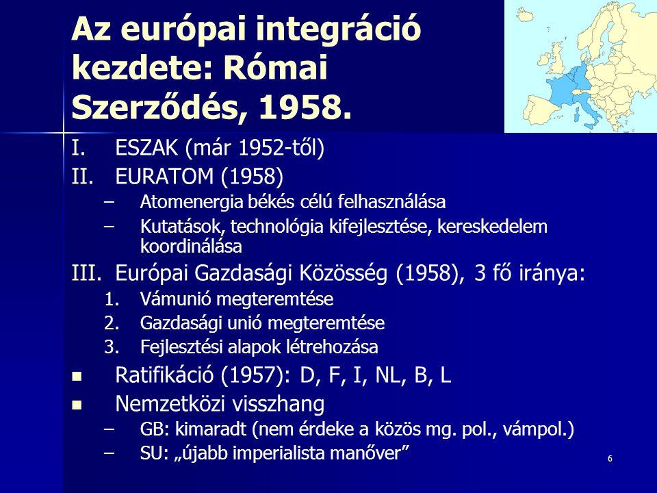 6 Az európai integráció kezdete: Római Szerződés, 1958. I. I.ESZAK (már 1952-től) II. II.EURATOM (1958) – –Atomenergia békés célú felhasználás a – –Ku