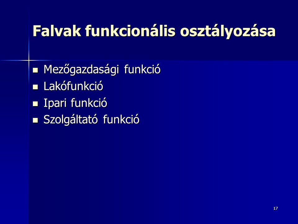 17 Falvak funkcionális osztályozása Mezőgazdasági funkció Mezőgazdasági funkció Lakófunkció Lakófunkció Ipari funkció Ipari funkció Szolgáltató funkció Szolgáltató funkció
