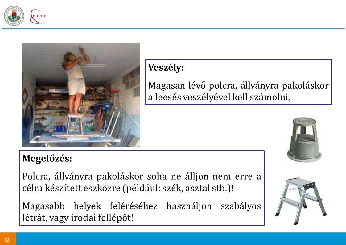 12 Megelőzés: Polcra, állványra pakoláskor soha ne álljon nem erre a célra készített eszközre (például: szék, asztal stb.).