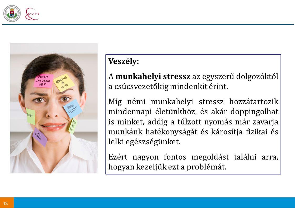 13 Veszély: A munkahelyi stressz az egyszerű dolgozóktól a csúcsvezetőkig mindenkit érint.
