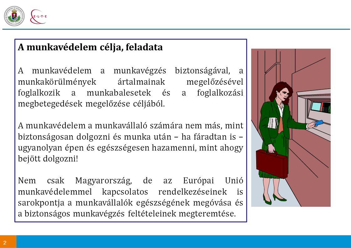 2 A munkavédelem célja, feladata A munkavédelem a munkavégzés biztonságával, a munkakörülmények ártalmainak megelőzésével foglalkozik a munkabalesetek és a foglalkozási megbetegedések megelőzése céljából.