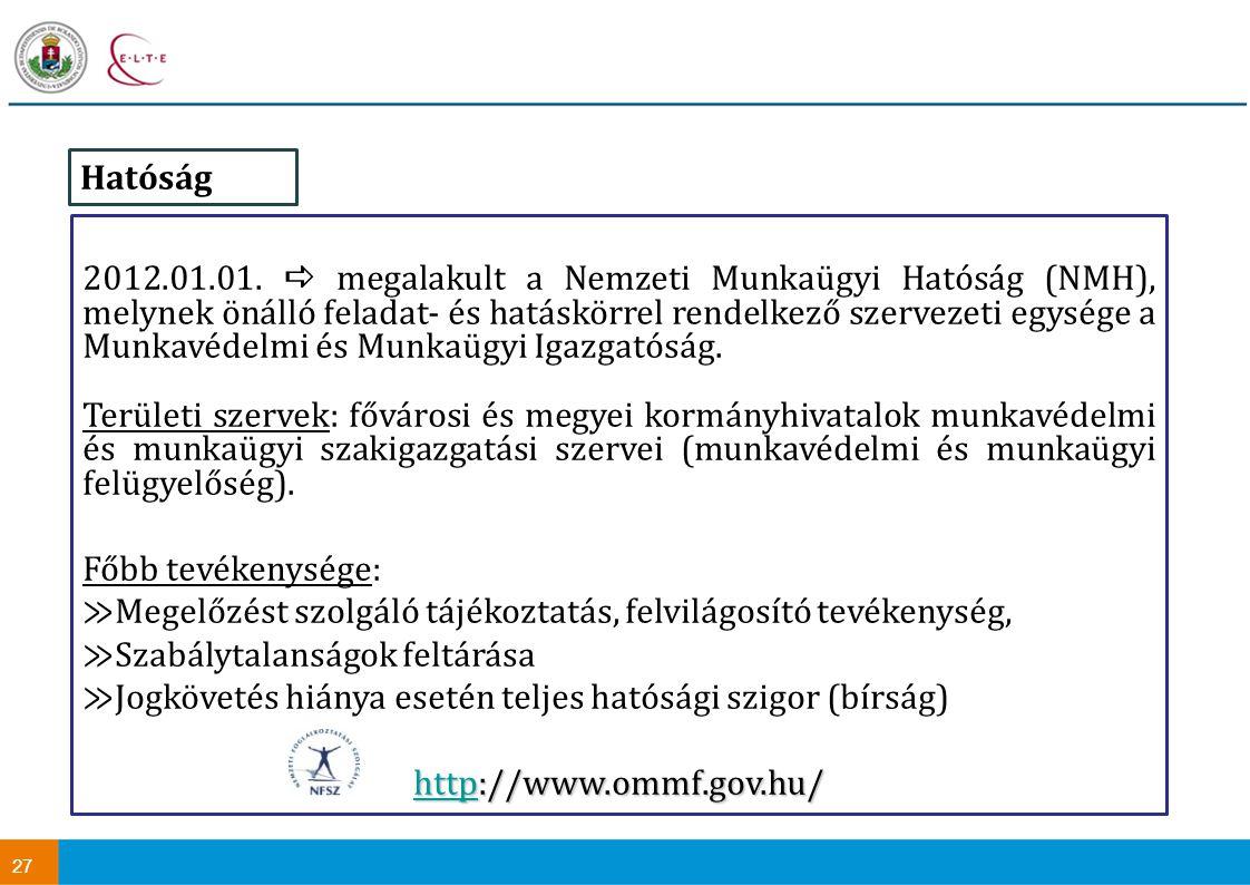 27 2012.01.01.  megalakult a Nemzeti Munkaügyi Hatóság (NMH), melynek önálló feladat- és hatáskörrel rendelkező szervezeti egysége a Munkavédelmi és