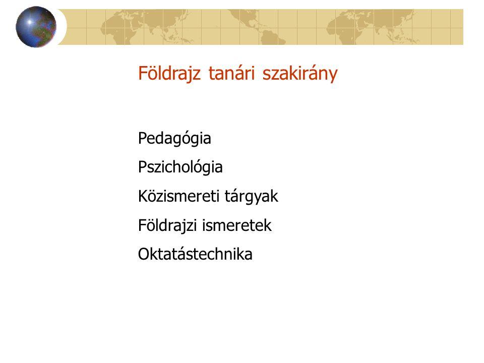 Földrajz tanári szakirány Pedagógia Pszichológia Közismereti tárgyak Földrajzi ismeretek Oktatástechnika
