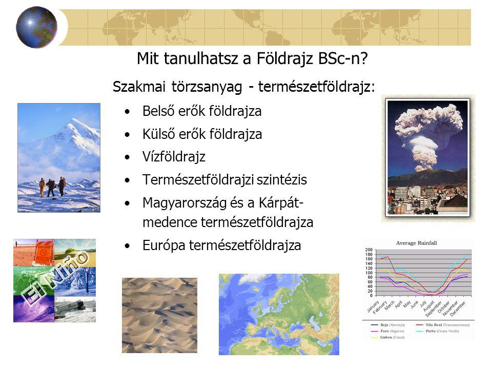 Szakmai törzsanyag - természetföldrajz: Belső erők földrajza Külső erők földrajza Vízföldrajz Természetföldrajzi szintézis Magyarország és a Kárpát- m