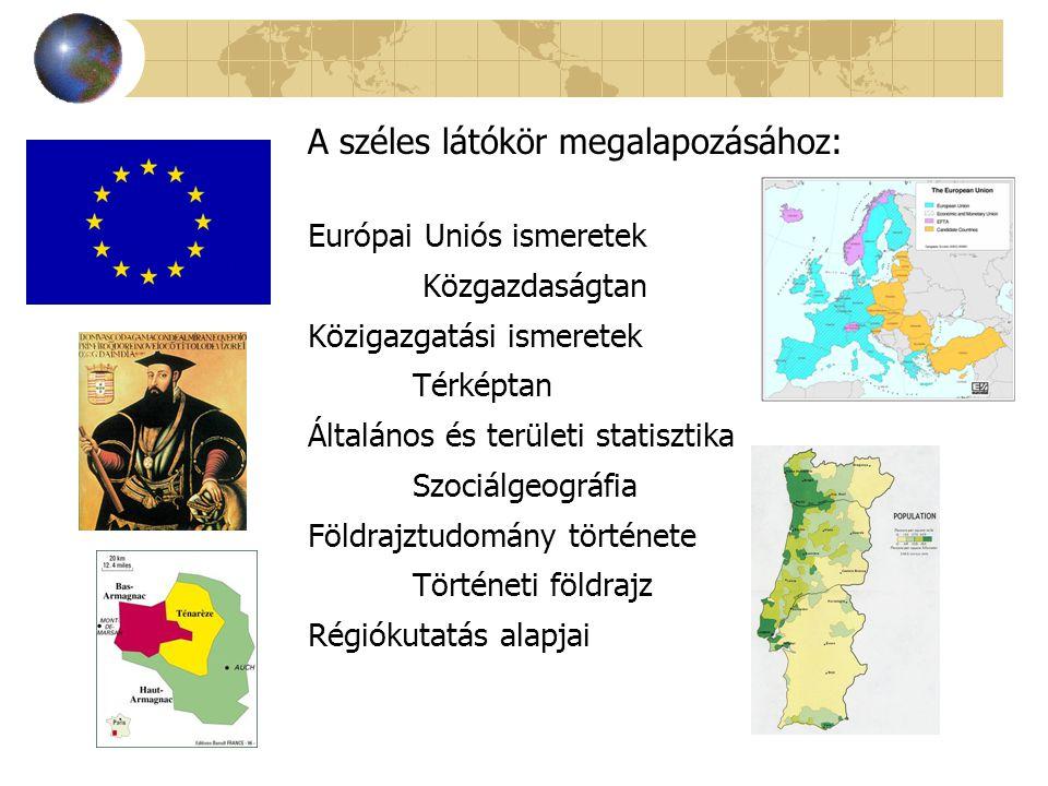 Európai Uniós ismeretek Közgazdaságtan Közigazgatási ismeretek Térképtan Általános és területi statisztika Szociálgeográfia Földrajztudomány története