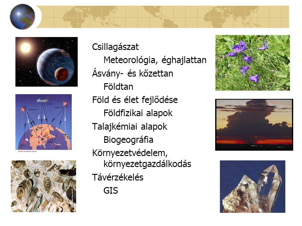 Csillagászat Meteorológia, éghajlattan Ásvány- és kőzettan Földtan Föld és élet fejlődése Földfizikai alapok Talajkémiai alapok Biogeográfia Környezet